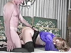Blonde chick in stockings gets fucked by old fart tube porn video