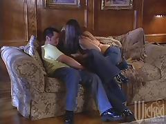 Check out this bitch in tight jeans as they come off and a threesome breaks out on video tube porn video