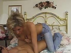 Blonde milf fingers her shaved vag while rubbing her man's wang tube porn video