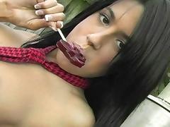 Busty brunette Francesca shows off her ass tube porn video