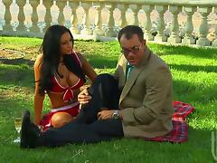 Audrey Bitoni enjoys doggy style sex and gets facialed in the garden tube porn video