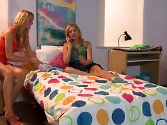 Brett Rossi and Lia Lor have hot lesbian sex in a bedroom tube porn video
