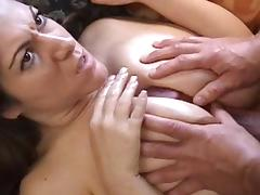 Carmel gives Bob a nice sloppy titjob tube porn video