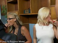 Diamond Foxxx and Phoenix marie both swallow cock and get their asses fucked tube porn video