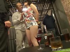 Busty Japanese bitch gets her mouth and cunt drilled in a cage tube porn video