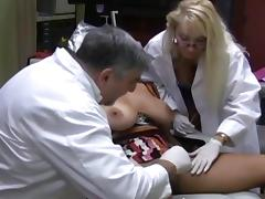 Two doctors bang a busty patient tube porn video