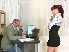 Redhead Stefany fucks with old man tube porn video