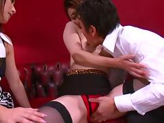 Yayoi Yanagida and Maki Hokujo Share Sperm After A Threesome tube porn video