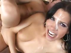 Sexy brunette John Strong was covered with cum tube porn video