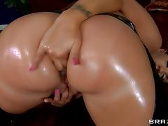 Kelly Divine toys her oiled holes and gets her butt fucked from behind tube porn video