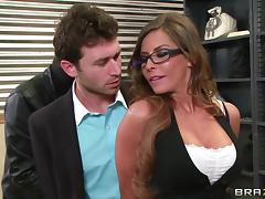Madison Ivy gets fucked by lewd robber James Deen in a bank tube porn video
