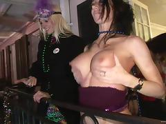 Hot Babes Flashing Their Big Fake Tits In Mardi Gras tube porn video