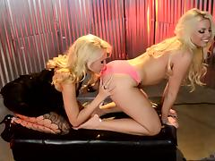 Lesbian action with blonde bombshells Katie Summers and Britney Amber tube porn video
