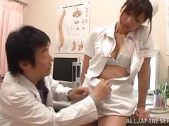 Japanese nurse Azusa Ishihara seduces a doctor and fucks him tube porn video