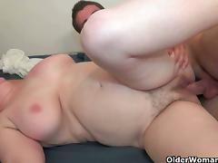 Chubby mature slut enjoys a young stud's cock tube porn video
