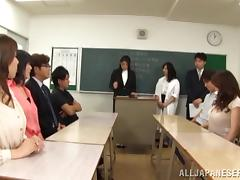 Horny Japanese Mature Teachers Handjobs At A Meeting tube porn video