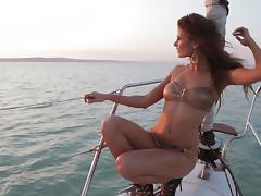 Redhead Sheds Her Bikini and Gets Naked on a Yacht tube porn video