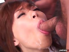 Keito Miyazawa headfucked by two hard dicks tube porn video