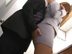 Haruki Sato gets fucked in her husband´s office tube porn video