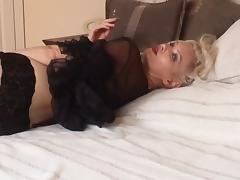 Hot Blonde Cougar Smoking Solo in Lingerie and Stockings tube porn video
