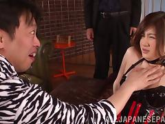 Asian milf wearing a corset gets her twat fucked as hard as never tube porn video