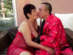 Mature brunette Anastasia works on a cock and enjoys doggy style sex tube porn video
