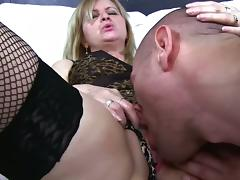 Mature blonde in stockings fucking her boytoy tube porn video