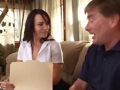 Perfect young schoolgirl sits on his face and then sucks a load from his cock tube porn video