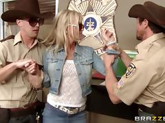 blonde with long hair and glasses drilled by police in uniform tube porn video