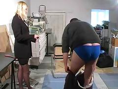 Guy gets punished and caned by female boss tube porn video