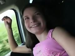 Puffy nippled hitchhiker teen Anita B banged in the public tube porn video
