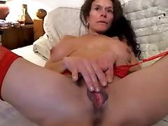 Wife with large pussy lips plays with clit, hubby fingers tube porn video