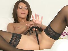 Alexis Brill wears sexy thigh high stockings while toying her pussy tube porn video